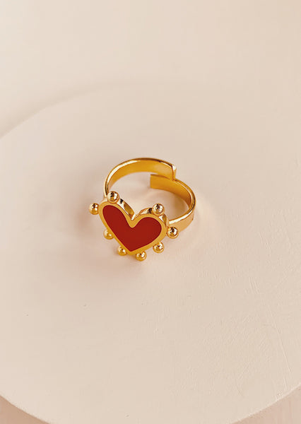 Amore Heart  Ring Red