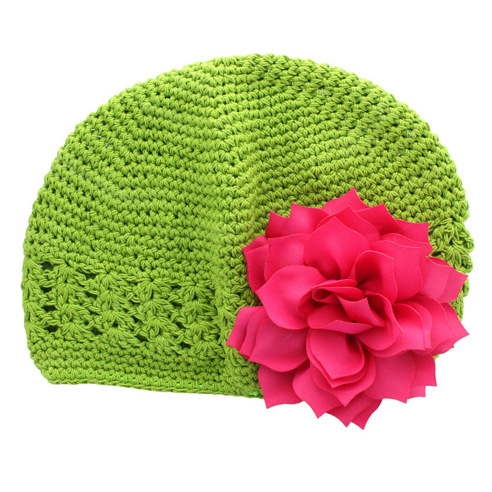 c94fd3687e0 ... Apple Green Hot Pink Girls Kufi Crochet Beanie Hat