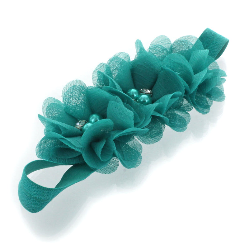 Beaded chiffon Flower 3 large fabric flower Pearl Rhinestone chiffon flower headband flower hair clip flower You choose color