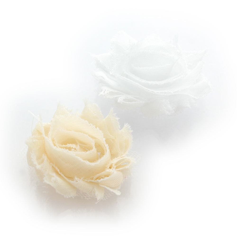White Garden Rose Hair shabby rose baby hair flower clip pair – my lello
