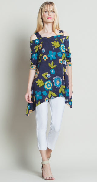 Clara Sunwoo Floral Sketch Cold Shoulder Tunic