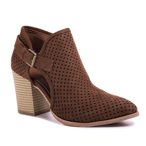 Amanda Blu Perforated Bootie with Buckle - Chocolate