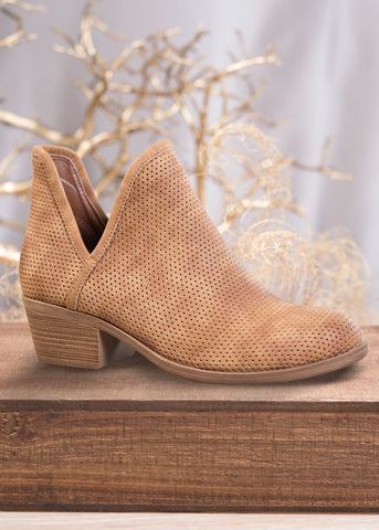 Amanda Blu Deep V Perforated Bootie Brown