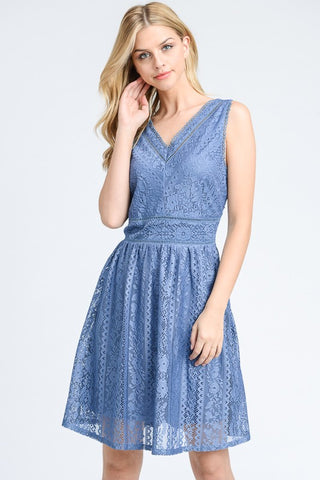 Doe & Rae All Over Lace Flare Dress Slate Blue