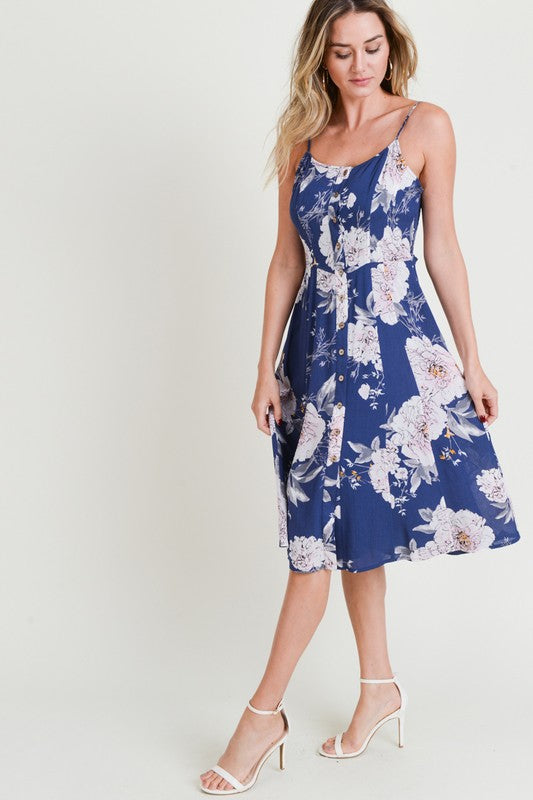 Doe & Rae Crepon Print Midi Front Bottom Down Dress Navy
