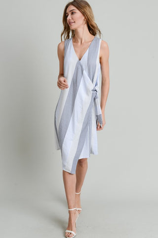 Doe & Rae Sleeveless Wrap Dress in Blue