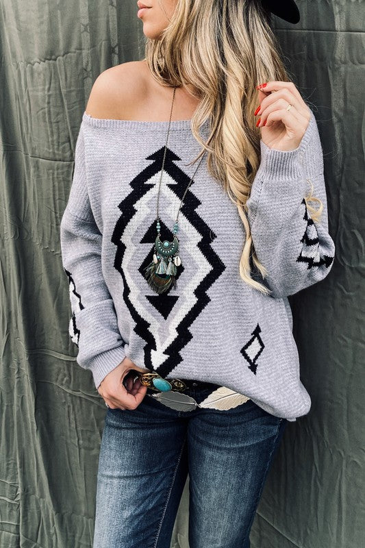 Aztec Printed Pull Over Sweater in Grey