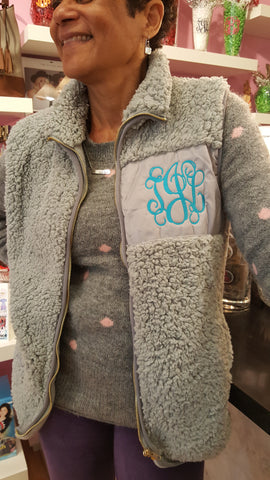 Camden Vest in Grey with Medium Turquoise Color Monogram