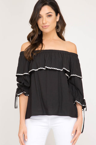She + Sky 3/4 Sleeve Woven Off The Shoulder Top Black