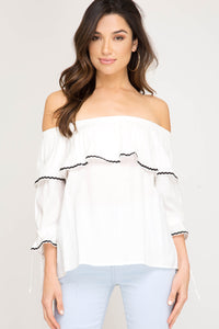 She + Sky 3/4 Sleeve Woven Off The Shoulder Top Off White