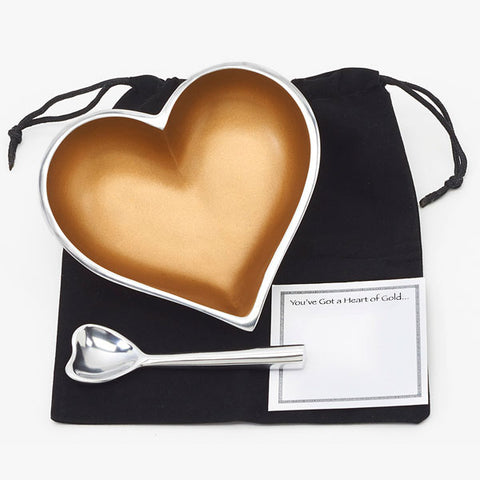 Heart of Gold with Velvet Bag and Note Card
