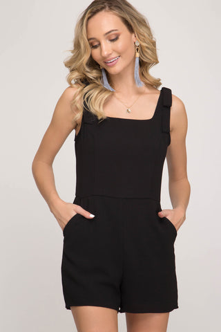 She + Sky Sleeveless Woven Square Neck Romper w/Shoulder Ties & Pockets