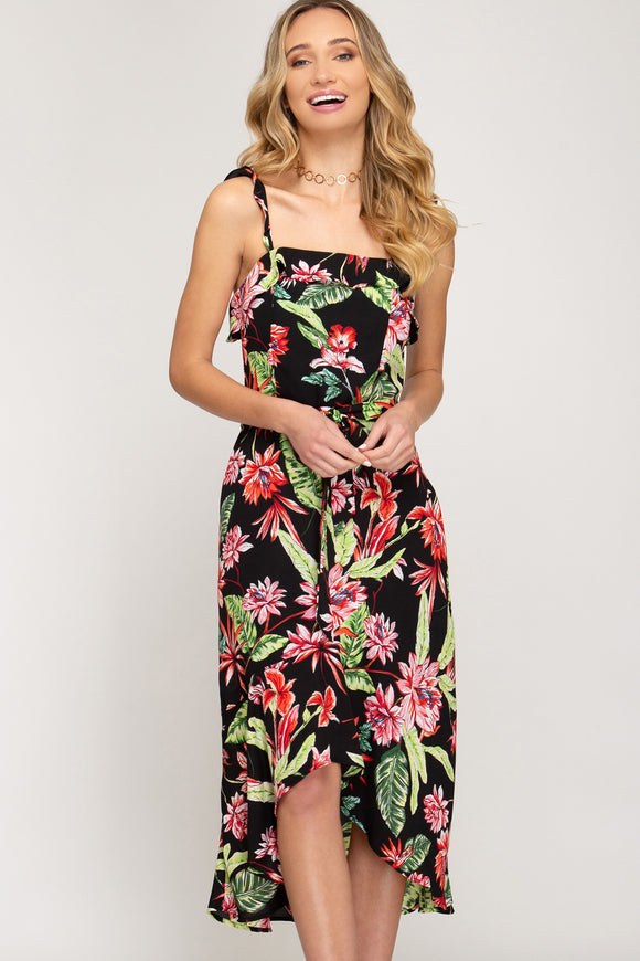 She + Sky Floral Print Hi Lo Dress with Waist Sash & Ruffled Shoulder Straps