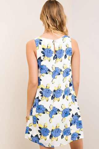 Entro Floral Print Sleeveless Print Dress Off White
