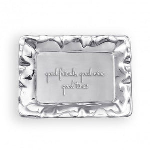"Beatriz Ball Vento Tray ""Good Friends, Good Wine, Good Times"""