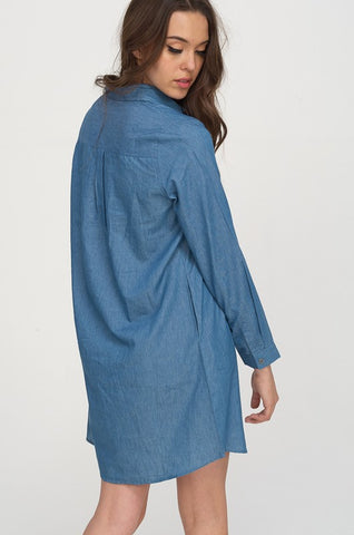 Hyped Unicorn Long Sleeve Collared Dress Denim