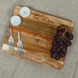 "Love Lives Here - 9"" Acacia Cheese/Bread Board Set"