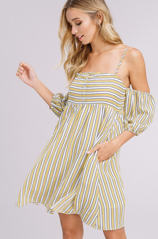 Listicle Textured Striped Off The Shoulder Dress in Yellow
