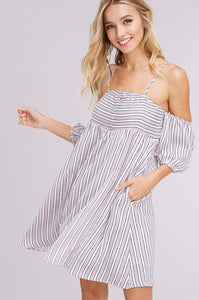 Listicle Textured Striped Off The Shoulder Dress in Pink