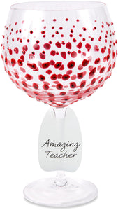 Amazing Teacher Wine Glass with Red Poppies Decor