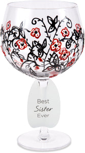 Best Sister Ever with Red Flowers & Swirls Decor