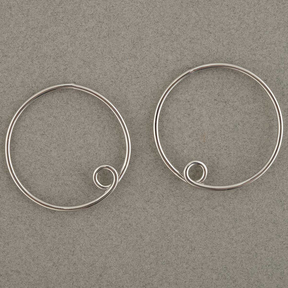 Trezo Loopy Hoop Post Earrings Silver