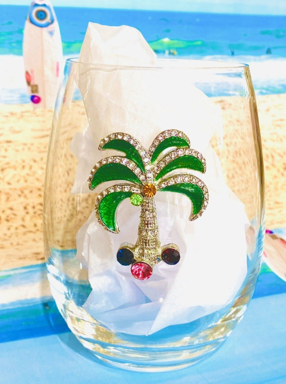 Palm Tree Diamond Stemless Wine Glass