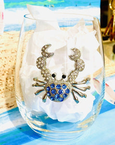 Blue Crab Diamond Stemless Wine Glass