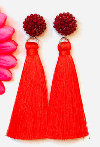 Denver Tassel Post Earrings  Red
