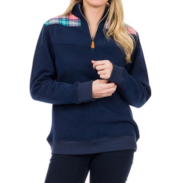 Evie Pull Over Navy with Pink Plaid