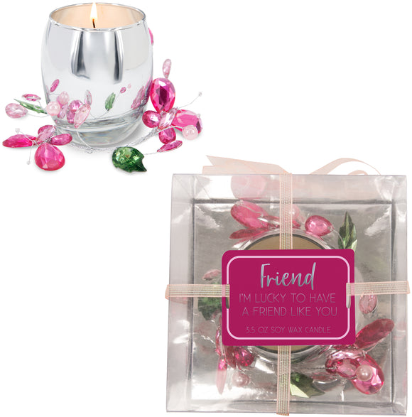 Friend Pink Butterfly - Soy Wax Candle 3.5oz Scent: Jasmine