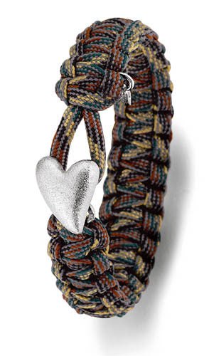 From Soldier to Soldier Camo Bracelet Silver Heart Clasp