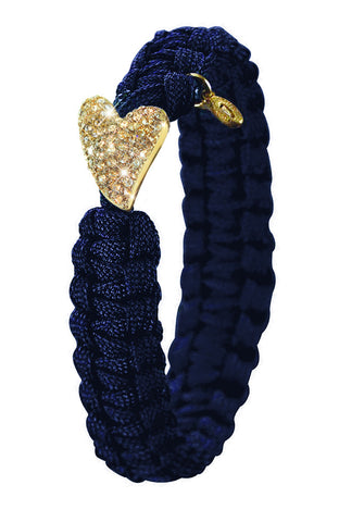 From Soldier to Soldier Navy Gold Plate Swarovski Heart