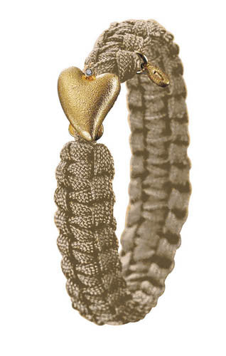 From Soldier to Soldier Sand Gold Heart with Diamond Clasp