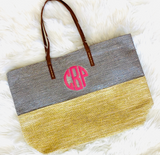 Glittery Silver & Gold 2 Tone Bag Personalized