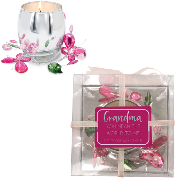 Grandma Pink Butterfly - Soy Wax Candle 3.5oz Scent: Jasmine