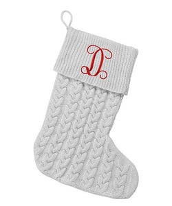 Grey Cable Knit Stocking