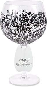 Happy Retirement Wine Glass with Black Vines Decor