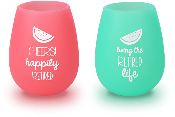 Happily Retired - Silicone Wine Glasses 13oz (Set of 2)