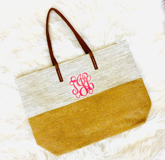 Glittery White & Gold 2 Tone Bag Personalized