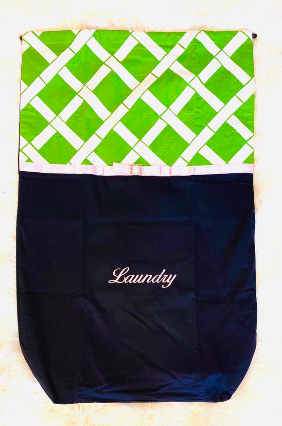 Laundry Bag Green Lattice
