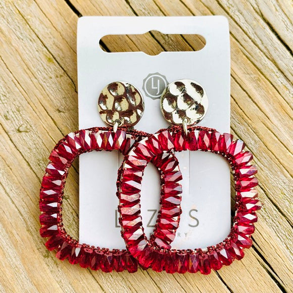 Lizas Plano Post Burgundy Earrings