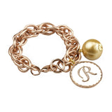 John Wind Sorority Gal Cotton Pearl Initial Bracelet Rose Gold