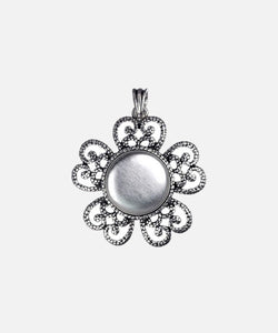 "Magnabilities Blosom 1"" Antique Silver Pendant"