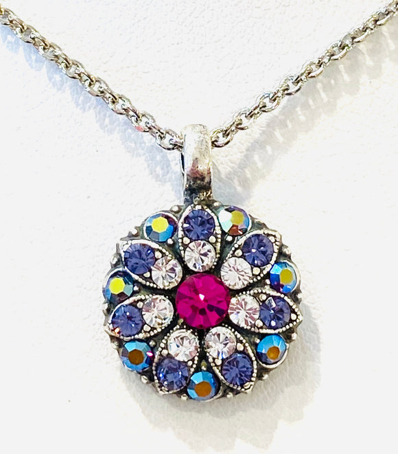 Mariana Guardian Angel Necklace Purple, Crystal & Hot Pink