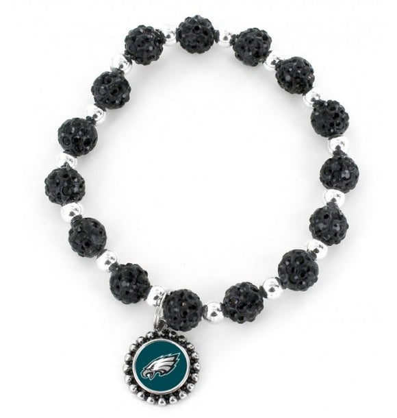 Philadelphia Eagles Black Pebble Bead Stretch Bracelet