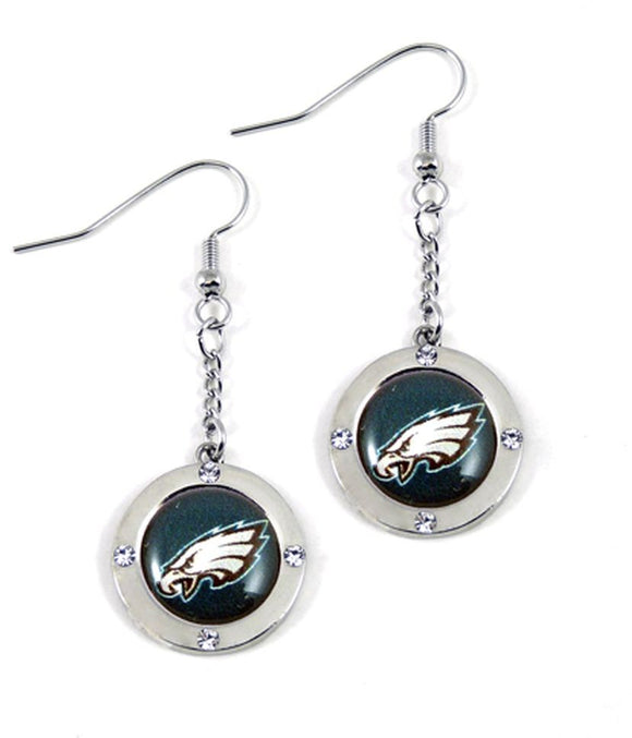 Philadelphia Eagles Round Crystal Dangle Earrings