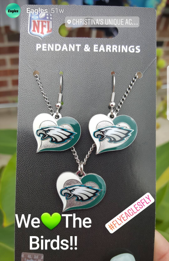 Philadelphia Eagles Swirl Heart Earrings & Necklace Set