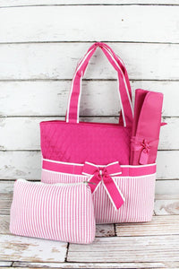 Seersucker Diaper Bag Set with Bow with Monogram