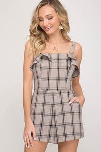She + Sky Woven Plaid Print Romper with Ruffled Hem & Pockets in Stone